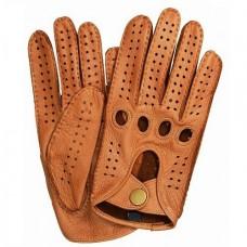 Кожаные мужские водительские перчатки (цвет сamel)
