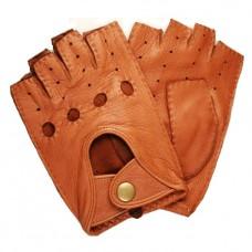 Мужские кожаные перчатки без пальцев (цвет сamel)