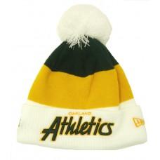 """Мужская шапка """"Oakland Athletics"""" с помпоном"""