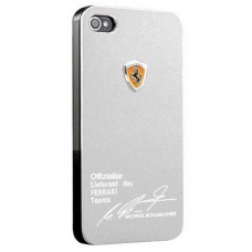 Серебристый чехол накладка для iPhone 5/5S Ferrari - Michael Shumaher