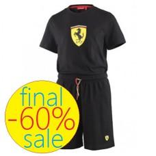 Летний детский спортивный костюм: футболка и шорты Ferrari, чёрного цвета