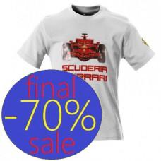 Белая футболка с принтом болида F1 Ferrari для подростка