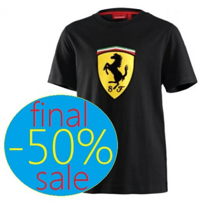 Брендовая детская футболка с большим логотипом Ferrari, чёрная