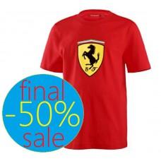 Брендовая детская футболка с большим логотипом Ferrari, красная
