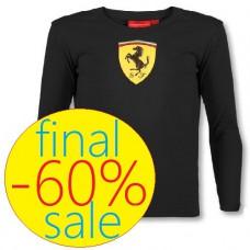 Брендовая детская футболка Scuderia Ferrari с длинным рукавом, чёрная