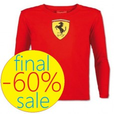 Брендовая детская футболка Scuderia Ferrari с длинным рукавом, красная