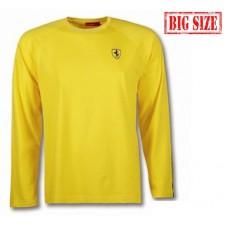 Жёлтая мужская футболка Ferrari с длинным рукавом (большого размера)