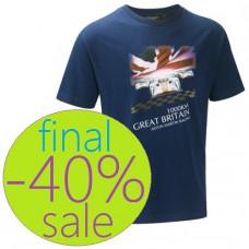 Синяя мужская футболка Aston Martin Racing с британским флагом
