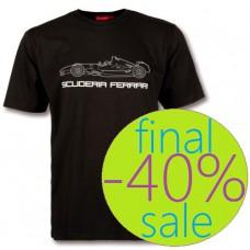 Чёрная мужская футболка Ferrari Outline Car