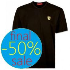 Чёрная мужская футболка Ferrari с V-образным вырезом (большого размера)