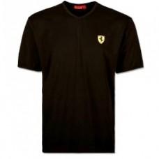 *Чёрная мужская футболка Ferrari с V-образным вырезом Big Size
