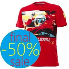 Мужская футболка гонщика Fernando Alonso, Ferrari, красная