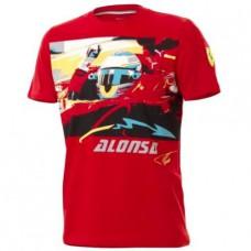 *Мужская футболка гонщика Fernando Alonso, Ferrari, красная
