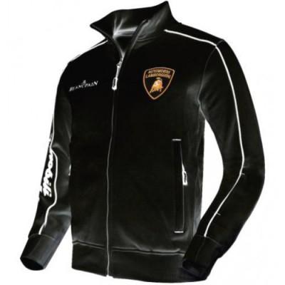*Утепленная мужская толстовка на молнии Lamborghini черного цвета
