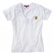 *Женская футболка SCUDETTO V-NECK Ferrari белого цвета