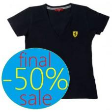 Женская футболка SCUDETTO V-NECK Ferrari черного цвета