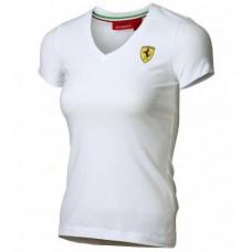 *Женская футболка Ferrari Women V-neck Tee White белого цвета