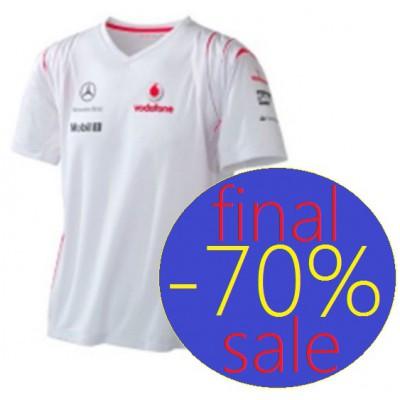 *Женская командная спортивная футболка Vodafon McLaren Team белого цвета