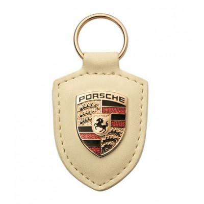 Брелок с логотипом авто Porsche Crest (бежевый)