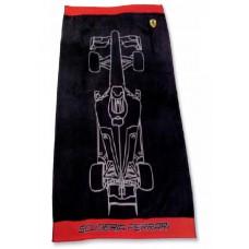 Большое полотенце (90х160 см) Ferrari с болидом, чёрное