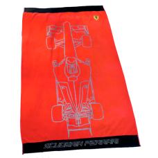 Большое полотенце (90х160 см) Ferrari с болидом, красное