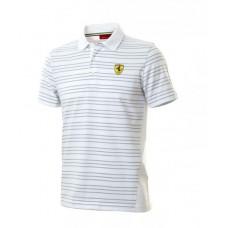 Брендовое мужское поло Ferrari в полоску (белое)