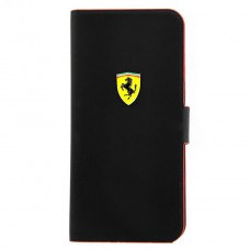 Чехол книжка для iPhone 5C Ferrari Rubber, Booktype черный