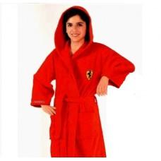 Детский халат Ferrari с капюшоном красный