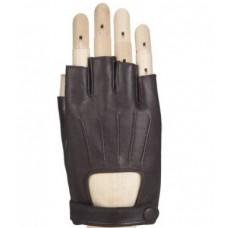 Кожаные мужские автомобильные перчатки, коричневые (без пальцев)