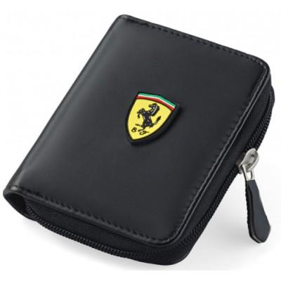 *Мужской кошелек Ferrari на молнии, черный