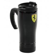 *Чёрная термокружка непроливайка Ferrari в автомобиль