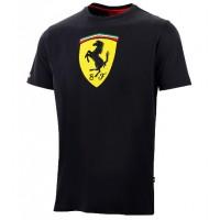 Модная мужская футболка Ferrari Big Scudetto, чёрная