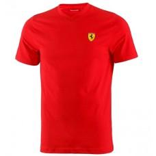 Классическая мужская футболка Ferrari с V-образным вырезом, красная