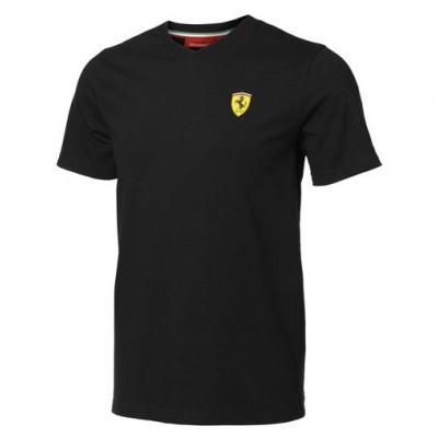 Мужская футболка Ferrari с V-образным вырезом, чёрная
