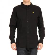 Чёрная приталенная мужская рубашка Ferrari с длинным рукавом