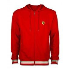 Мужская толстовка с капюшоном на молнии Italy Ferrari красного цвета
