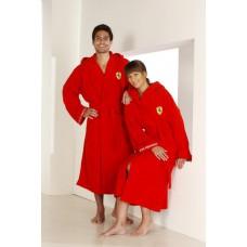 *Взрослый халат Ferrari с  капюшоном, красный