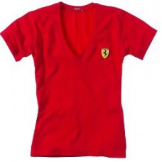Женская футболка SCUDETTO V-NECK Ferrari красного цвета