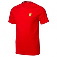 Мужская футболка Ferrari с V-образным вырезом, красная