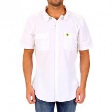 Летняя белая мужская рубашка Ferrari с коротким рукавом