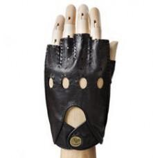 Кожаные мужские перчатки без пальцев (чёрные)