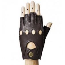 Мужские кожаные перчатки без пальцев, коричневые