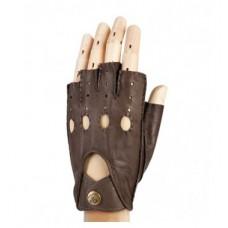Мужские перчатки для авто, без пальцев (кожаные)
