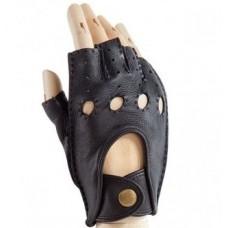 Мужские автомобильные перчатки (кожаные, без пальцев) чёрные