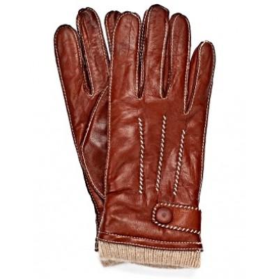 Зимние кожаные мужские перчатки