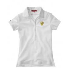 Женское поло Ferrari Classic Piquet SS белого цвета