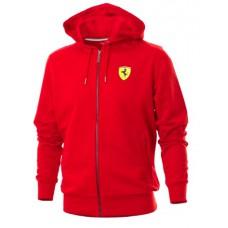 Брендовая мужская толстовка Ferrari с капюшоном и на молнии, красного цвета