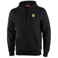 Мужская толстовка с капюшоном Ferrari черного цвета (худи)