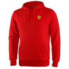 Мужская толстовка с капюшоном Ferrari  (кенгуру) красного цвета (худи)