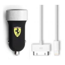 Зарядное устройство для USB в машину с дополнительными проводами для iPhone от Ferrari, черного цвета